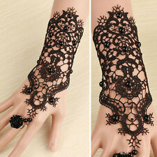 Victorian Gothic Lolita Black Floral Lace Cutout Black Rose Slave Bracelet Rings