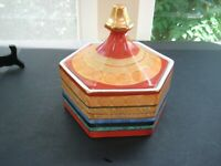Unique Vintage Colorful Ceramic Covered Dish Gold Accents Made in Japan signed