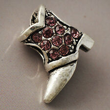 White Golden Silver Dark Pink CZ Womens Fashion Shoe Beads Pendant Fit all