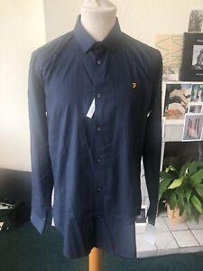 Farah Blue Stripped Shirt Size L Slim Fit