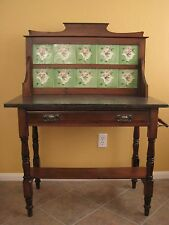 ANTIQUE VICTORIAN FLORAL TILE WOOD WASHSTAND BLACK STONE TOP & TOWEL BAR