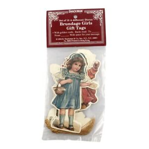 """(12) Brundage Girls Die Cut 4"""" Gift Tags with Golden Cords 1992 Shackman"""