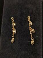 Vintage Gold Tone Heart Chain Dangle Earrings Dainty 13255