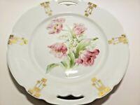 "Vintage Schwarzenhammer 9.5"" Cake Plate- Rose with Art Deco Gold Accent  Bavaria"