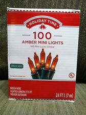 Holiday Time 100 Count Amber Mini Light Set Green Wire Indoor/Outdoor NIB
