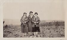 Antique Vintage Photograph Three Women Wearing Cool Outfits Standing in Field