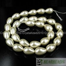 Top Quality Czech Glass Pearl Pear Teardrop Spacer Loose Beads 9mm x 13mm 15.5""