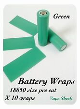 Envolturas de batería verde X 10 Piezas Pvc Manga Termocontraíble Pre Corte 18650