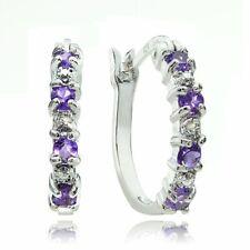 Amethyst & Diamond Accent Hoop Earrings 18k White Gold Plated