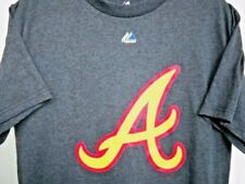 ATLANTA BRAVES UNISEX ADULT MEDIUM ( M ) NEON YELLOW & RED LOGO A GRAY TEE-SHIRT