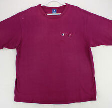 CHAMPION Vtg 90s Made In USA MAGENTA PURPLE CREW Single Stitch T-SHIRT MEN'S 2XL
