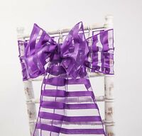 VERTICAL STRIPED ORGANZA SASHES AND TABLE RUNNERS 5 COLOURS EVENTS WEDDINGS