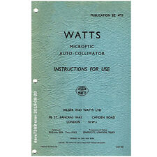 Hilger& WATTS MICROPTIC AUTO-COLLIMATOR INSTRUCTIONS FOR USE 1960 Vintage Manual