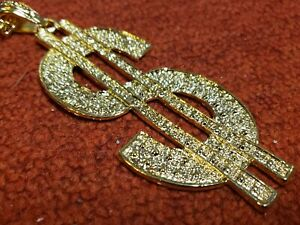 Dollar Sign Bling Bling Gold Necklace Pendant Chain Perfect for Kid Chid NEW