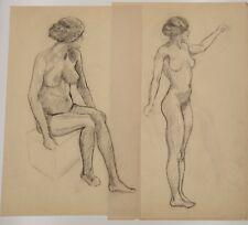 Czapek, Tschechische Avantgarde,1915, 2 Frauenaktzeichnungen , 30 x 46cm, Erotik