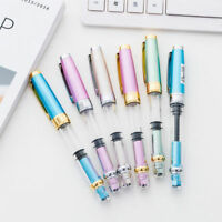 WING SUNG 3008 Transparent Silver Color Clip Piston Fountain Pen Fine Nib 0.5mm