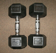 Pair of 20lb (40lb total) Dumbbells NEW Rubber? Encased Hex Hand Weights