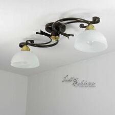 Deckenleuchte 2x E27 in Messing Decke Floral Deckenlampe Leuchte Glas Küche NEU