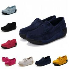 Women Oxfords Faux Suede Slip On Loafer Thick Bottom Creepers Shoes Wedge Heel L