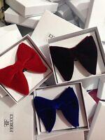 Mens FERUCCI Set Of 3 Oversized Bow Ties Burgundy Red Blue Velvet Bow tie Big