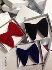 Mens FERUCCI Set Of 3 Oversized Bow Ties Burgundy Red Blue Velvet Bow tie Big