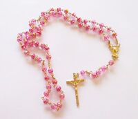 Very Pretty Rosary with Clear Pink Beads, Golden Tone Metal
