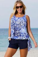 Beach Belle Women's Swimsuit Two Piece Tankini Set  Blouson Top Swim Shorts