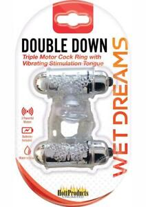 Wet Dreams Double Down Triple Motor Cockring With Vibrating Stimulating Tongue W