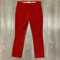 Anthropologie The Essential Slim Trousers Women's Size 4 Red Pants Cropped Ankle