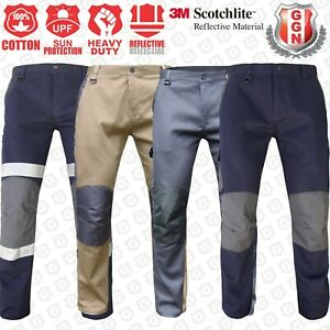 CARGO PANTS Work Trousers BigBEE KNEE POCKET Cotton Drill 3M REFLECTIVE UPF 50+
