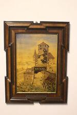 Bild Nürnberg Burg um 1900 Intarsien  Marketerie 12er Eckrahmen H. Stark #4954