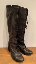 ALL SAINTS KNEE HIGH MILITARY STYLE BLACK BOOTS SIZE 40 (UK 7) REAL LEATHER BNIB