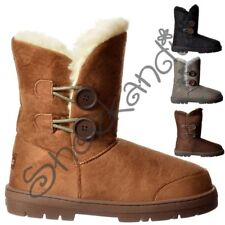 Womens Girls Ella 2 Button Fully Fur Lined Flat Rubber Sole Ankle Winter Boot
