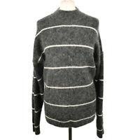 Second Female Copenhagen Size L 14 16 Grey Mohair Wool Blend Jumper Striped