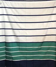 NEW Fabric Shower Curtain: Nautical Stripe Design Navy and White and Green