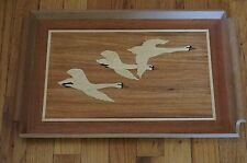 Vintage Carved Wood Inlay Serving Tray Butler Marquetry Flying Geese Platter