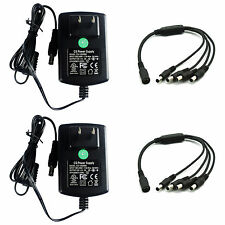 2-pack DC 12V 2A Power Supply Adapter + 4 Split Cable F. CCTV Camera DVR UL FCC