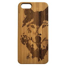 Wolf Rose Case for iPhone 7 Plus Bamboo Wood Cover Dog Spirit Native H