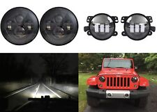 "7'' Black LED Headlights + 4"" Cree LED Fog Lights For 2007-2017 Jeep Wrangler JK"