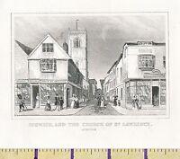 C1815 Antiguo Pequeño Georgiano Estampado ~ Ipswich & The Iglesia de St Lawrence