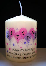 personalised 30th 40th birthday candle gift daughter sister auntie mum friend