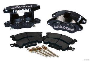 """WILWOOD BIG GM BRAKE CALIPER & PAD SET W/PINS,FRONT,1.28"""" DISCS,BLACK,D52"""