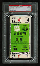 PSA 10 VANCOUVER 1979 Unused NHL Hockey Ticket for DETROIT at Pacific Coliseum