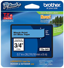 Brother TZ541 18mm black on blue Ptouch tape PT2030 PT2730 PT18R PT1400 PT2430