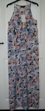 BNWT £45 Dorothy Perkins Pink Blue Rose Print Lightweight Strappy Maxi Dress 14