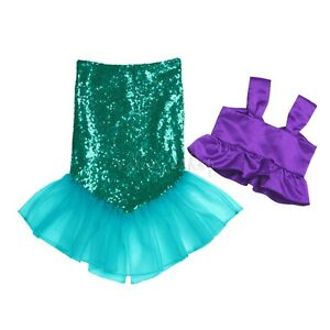 Kids Baby Child Mermaid Set Girl Princess Dress Party Cosplay Costume Outfits