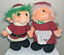 """Lot of 2 Trolio Trolls 16"""" Plush Dolls Mr & Mrs Santa Claus Stuffed Chosun 1992"""
