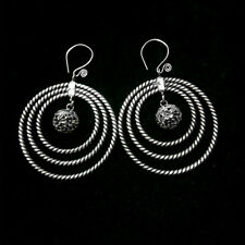 miao silver circles earring 1pair National wind retro tradition Chinese handmade
