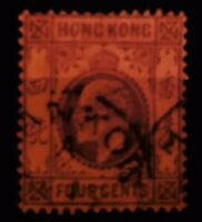 HONG KONG 1903 KEVII 4c PURPLE on RED SG78a GOOD USED OLD STAMP 02120120