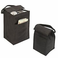 "LUNCH BAG BAGS BOX Recycled Insulated Black Bag 10"" with Pocket Cans"
